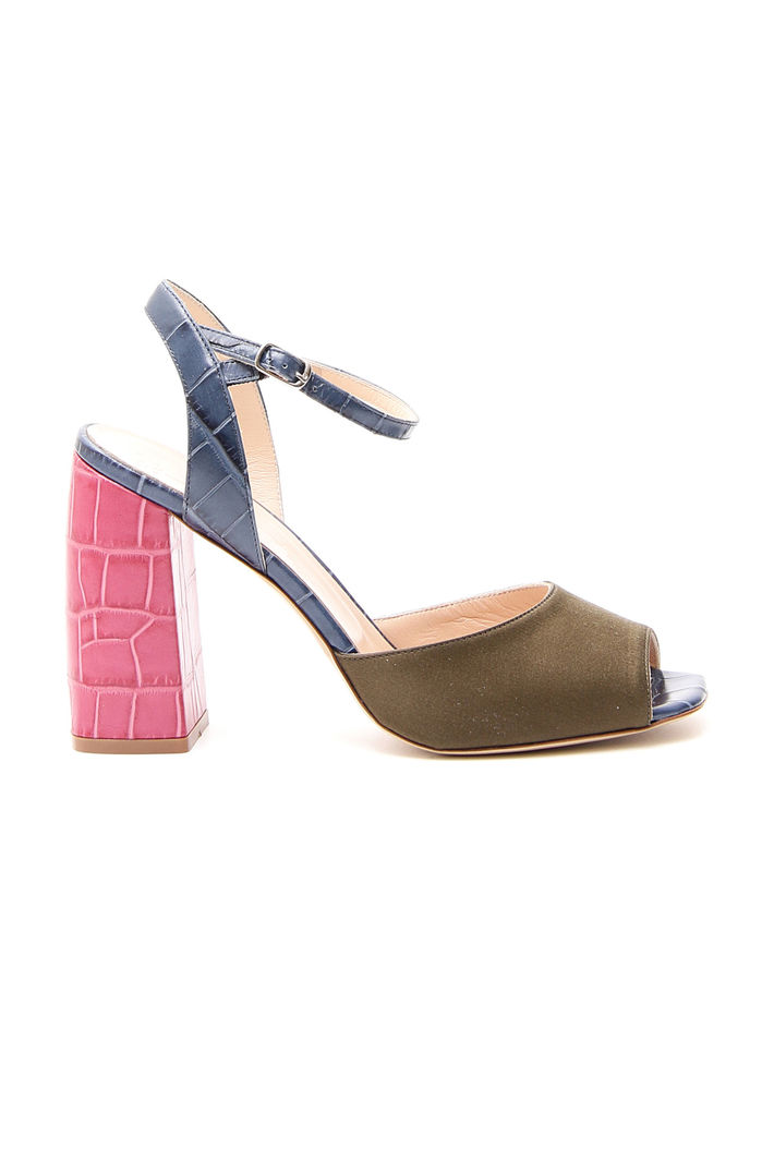 Sandali colorblock, blu rosa kaki