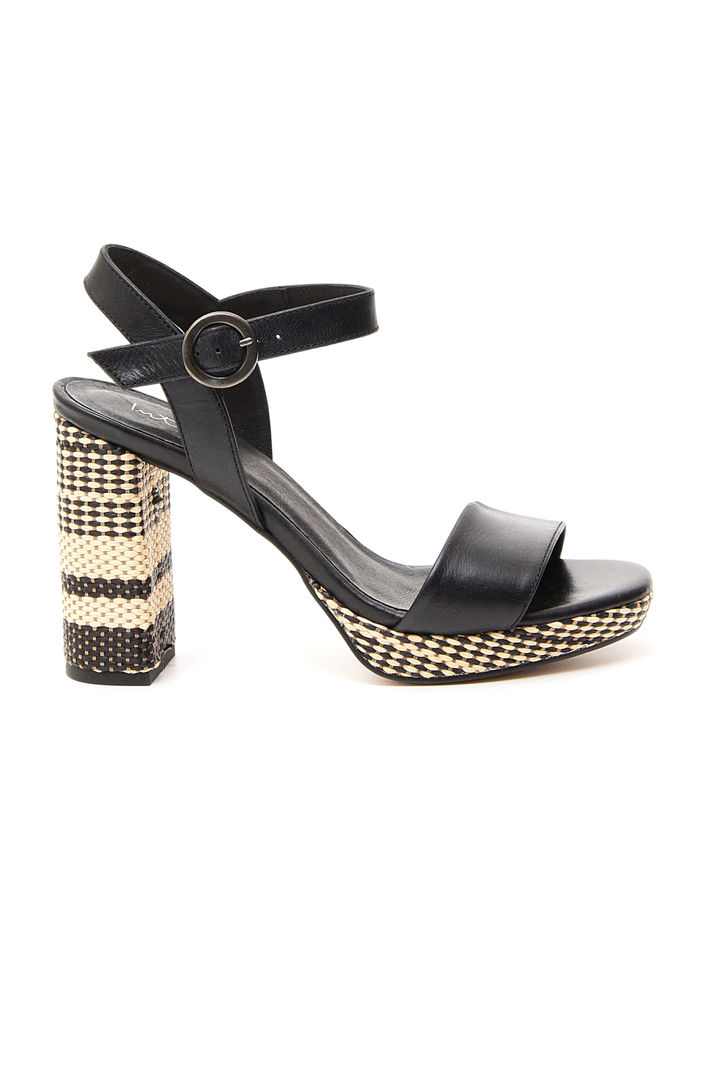 Sandali con tacco fantasia, nero