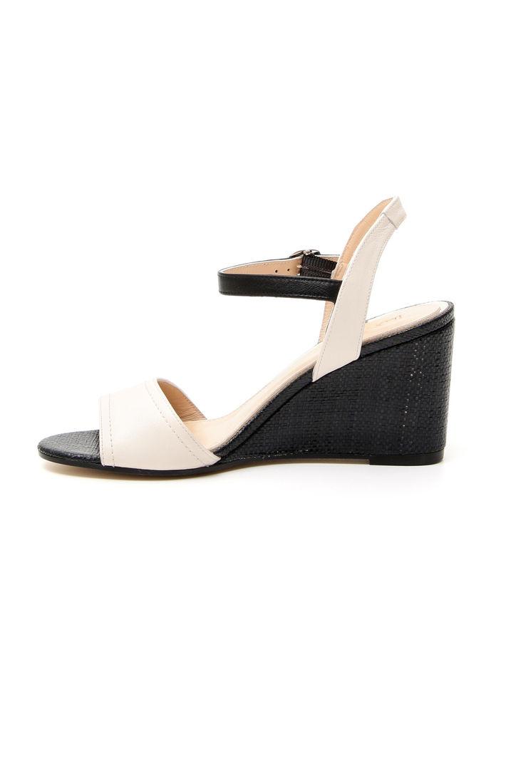 Sandalo in pelle con zeppa, nero panna
