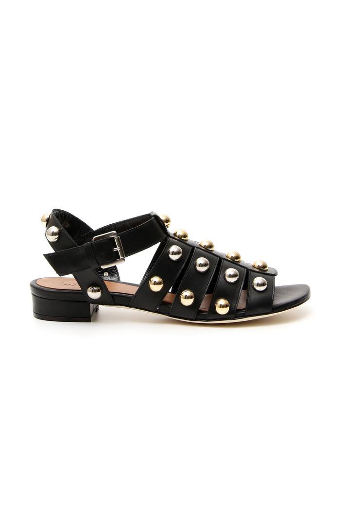 Sandalo con borchie applicate, nero