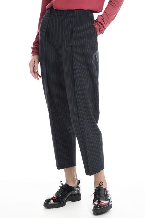 Pantalone gessato con cintura Intrend