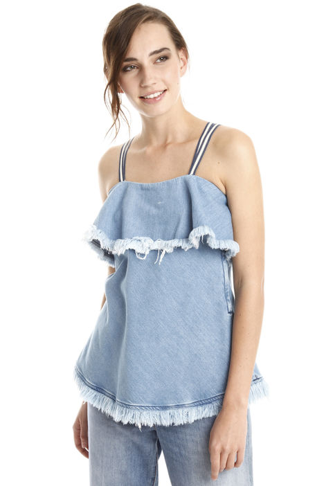 Top con balza in denim Diffusione Tessile
