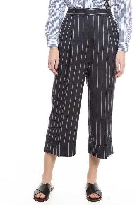 Pantalone gessato con risvolto Intrend