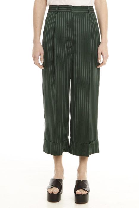 Pantalone gessato con risvolto Diffusione Tessile