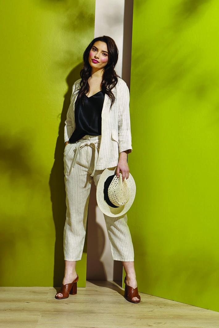 Pantaloni in lino con cintura Diffusione Tessile