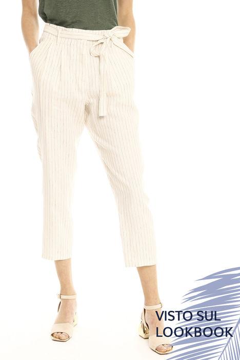 Pantaloni in lino con cintura Intrend
