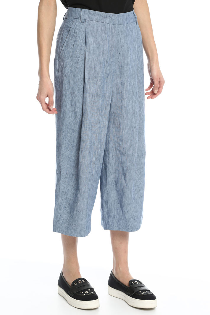 Pantaloni cropped in lino Fashion Market