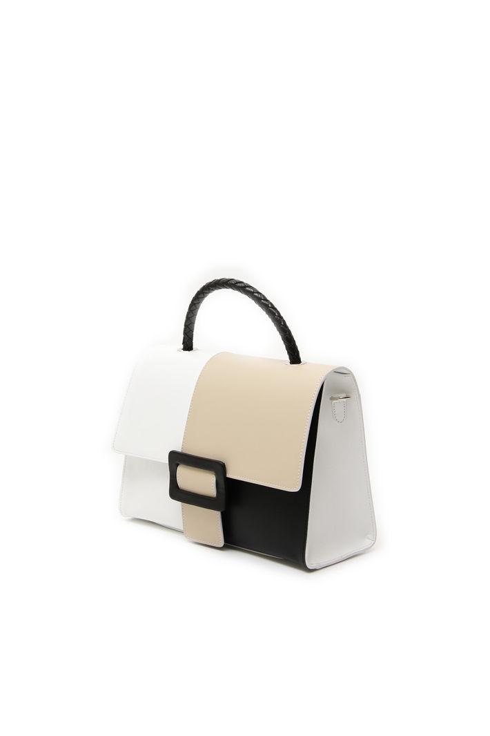 in block nero color bianco Borsa pelle color Borsa beige BtItq