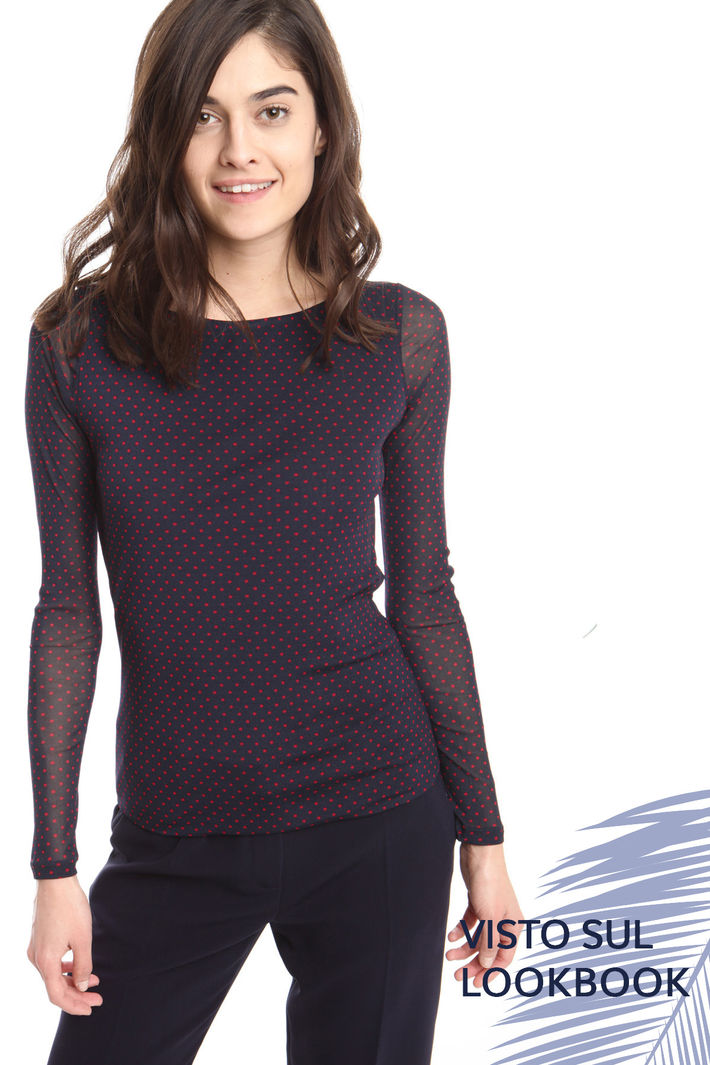 Top in tulle stretch stampato Intrend