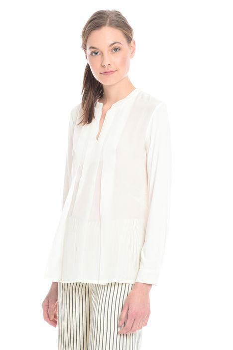 T-shirt bimateriale con pieghe Intrend