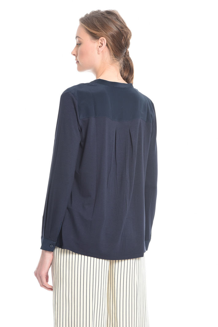 T-shirt bimateriale con pieghe Fashion Market