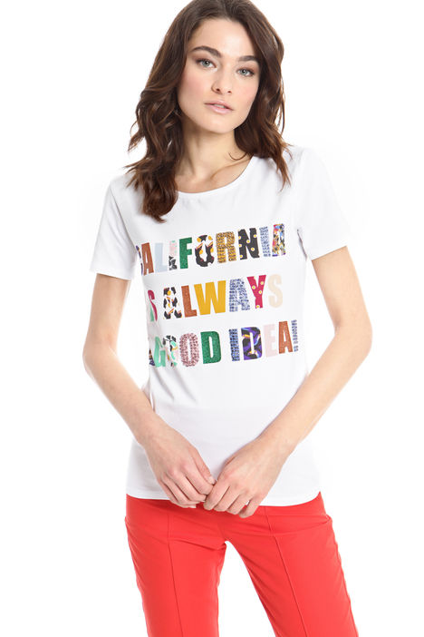 T-shirt con stampe e strass Intrend