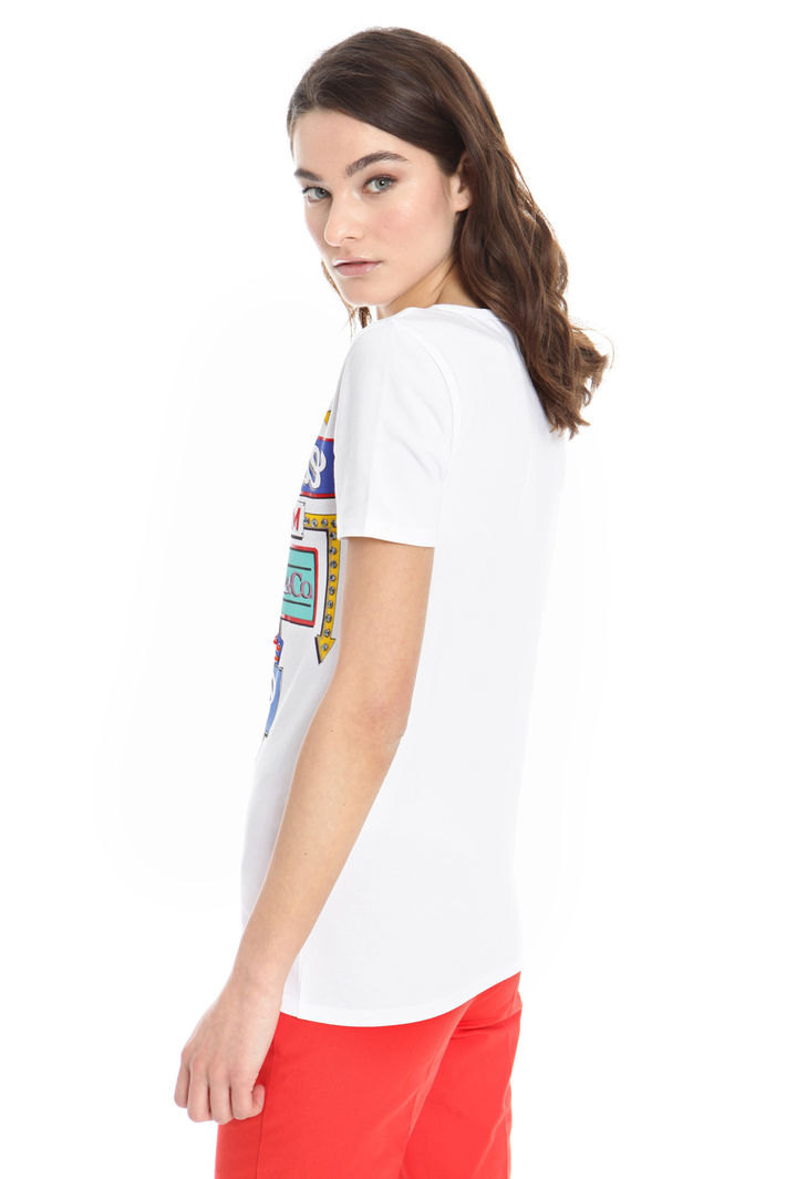 T-shirt con stampe e strass Fashion Market