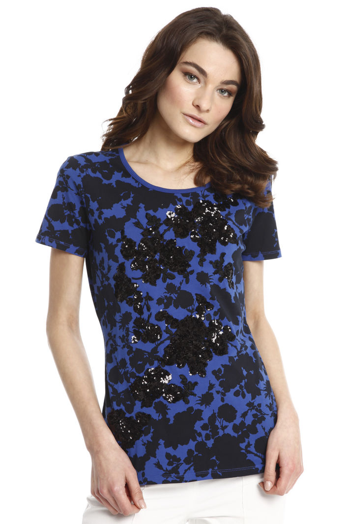 T-shirt con ricamo floreale Fashion Market