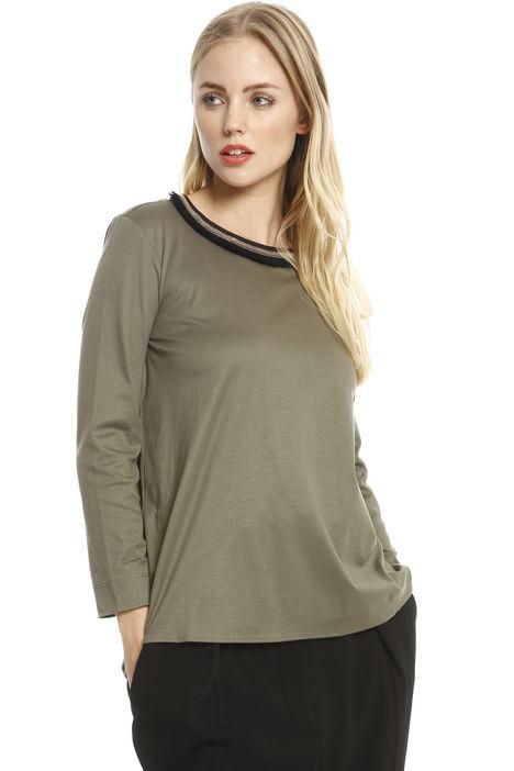 T-shirt con collo ricamato Diffusione Tessile