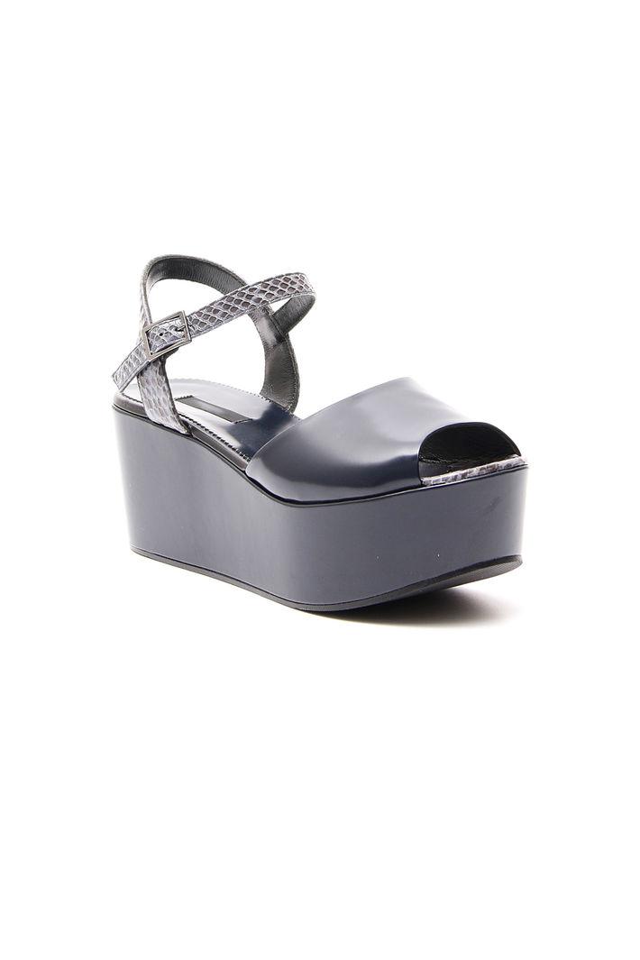 Sandalo Platform In Rettile Blu Notte