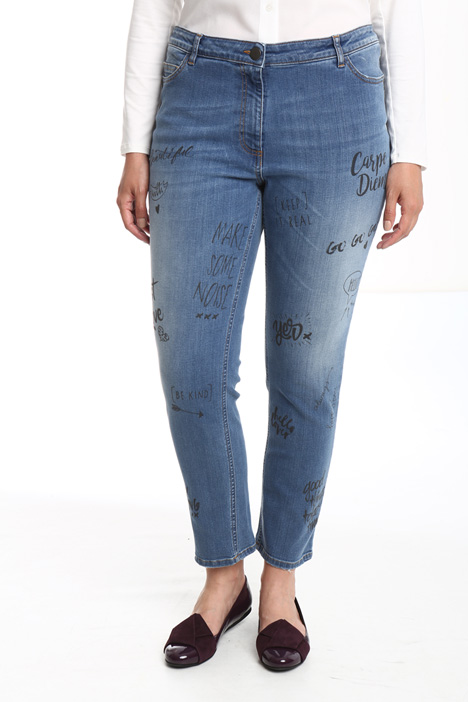 Jeans with lettering print Intrend