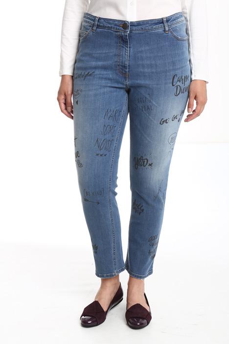 Jeans con stampa lettering Diffusione Tessile