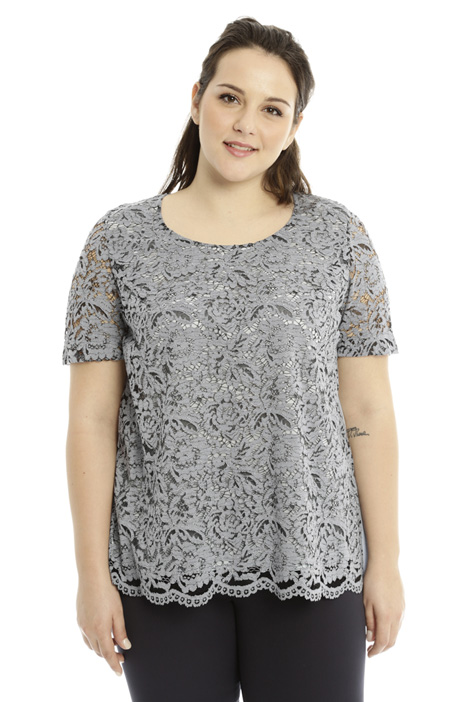 Plissé top with lace Diffusione Tessile