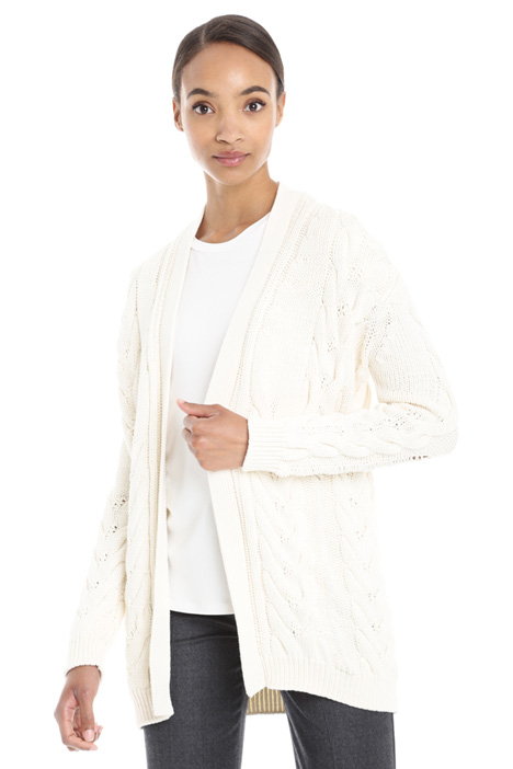 Braided knit cotton cardigan Intrend