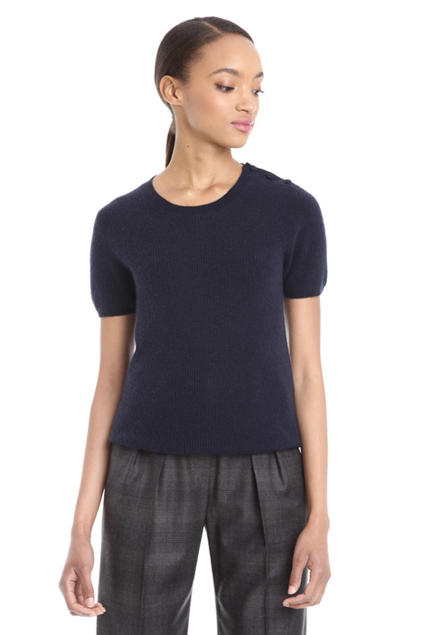 Buttoned ribbed sweater Diffusione Tessile