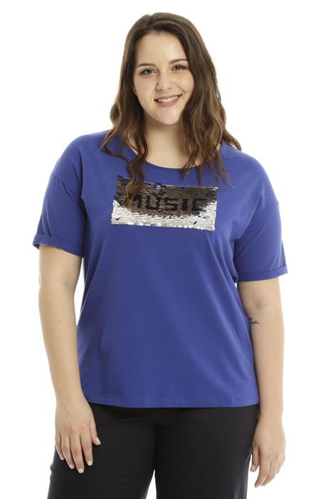 T-shirt con ricamo paillettes Diffusione Tessile