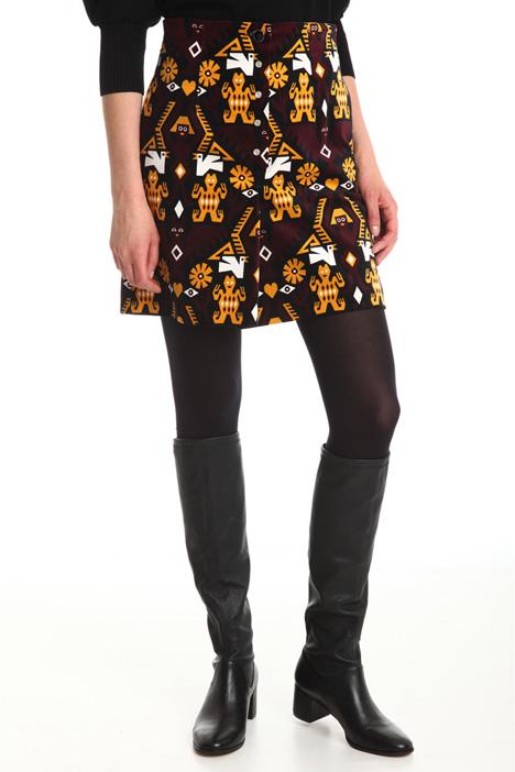 Printed velvet short skirt Diffusione Tessile