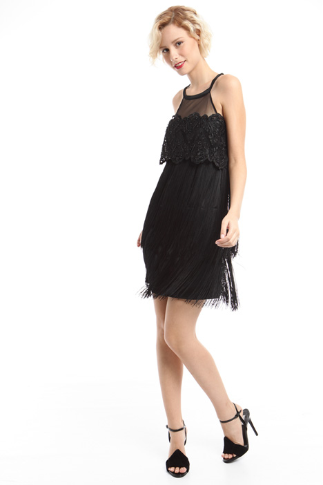 Embroidered dress with fringes  Intrend
