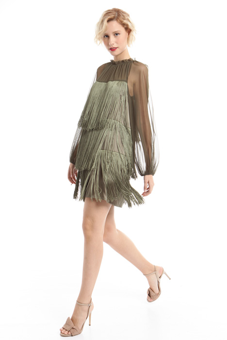Satin dress with fringes Intrend