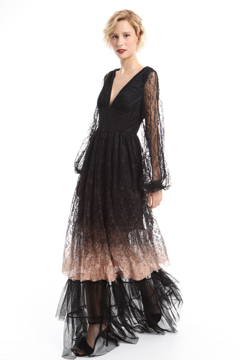 Long dress in laminated lace  Intrend