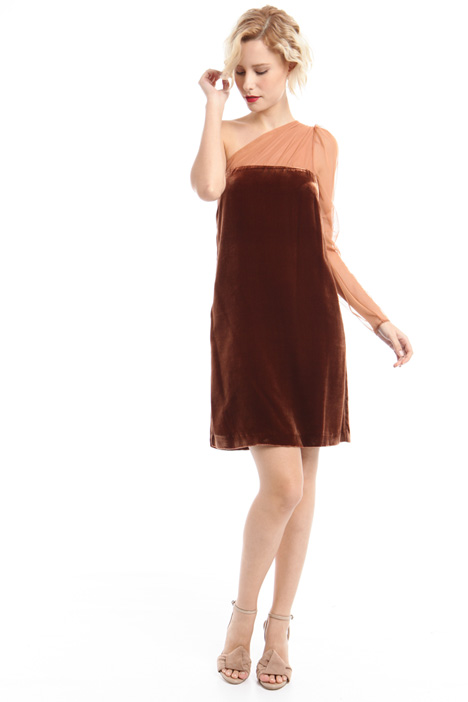 One shoulder velvet dress Diffusione Tessile