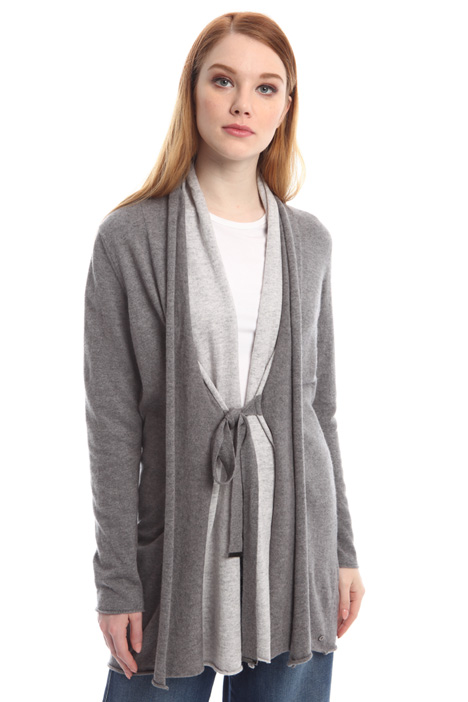 Cardigan bicolore con pannelli Diffusione Tessile