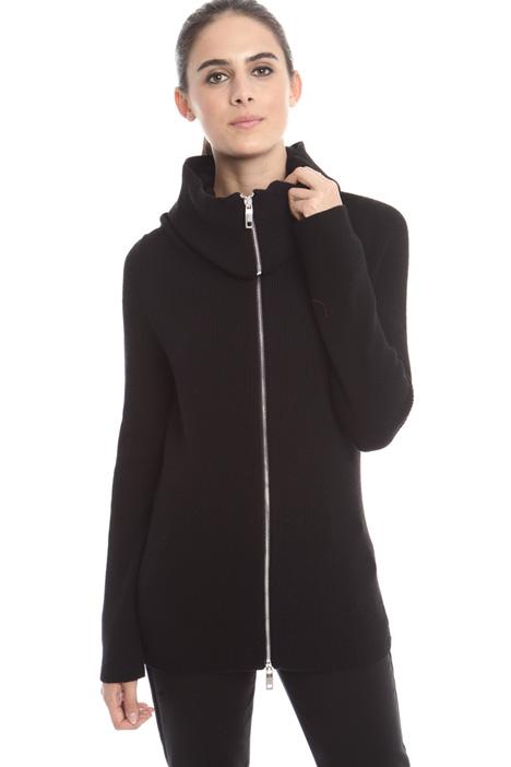 Cardigan stretch con zip Diffusione Tessile