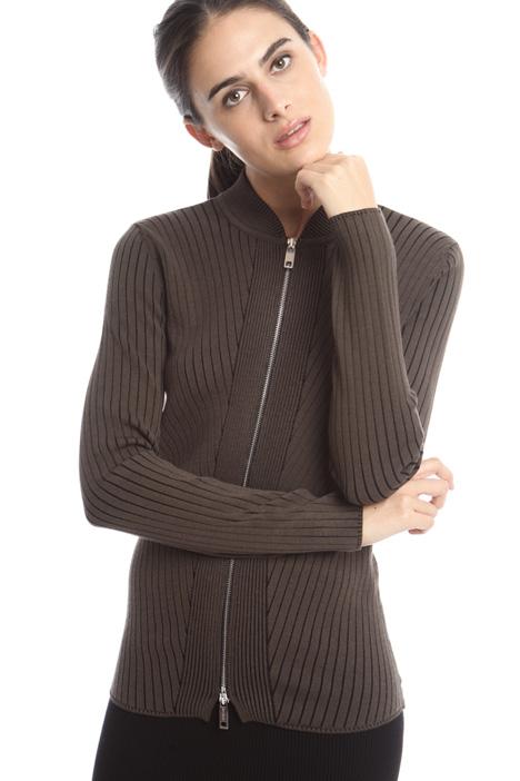 Cardigan con zip Diffusione Tessile