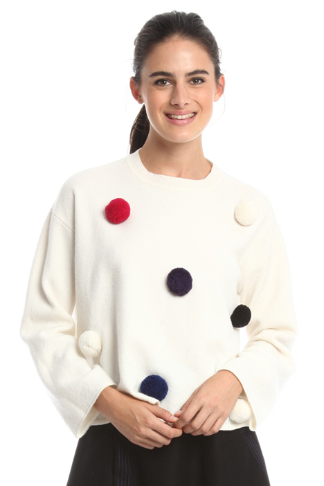 Sweater with pom-poms Diffusione Tessile