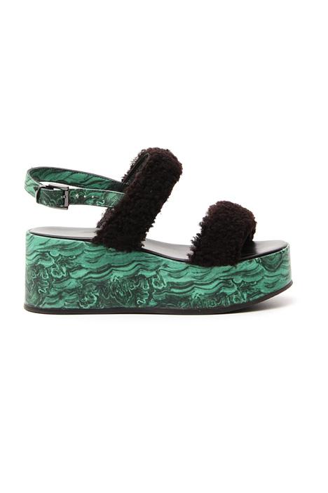 Sandalo con zeppa stampata Diffusione Tessile