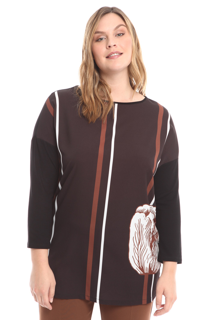 T-shirt a kimono con stampa Diffusione Tessile