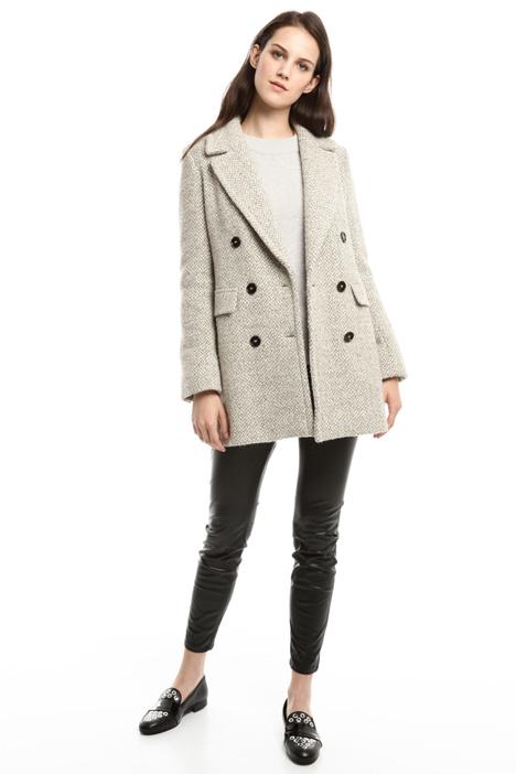 Chevron wool gauze coat Diffusione Tessile