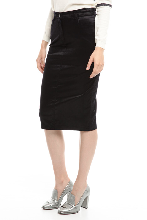 Stretch velvet longuette skirt Intrend