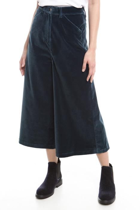 Pantalone cropped in velluto Diffusione Tessile