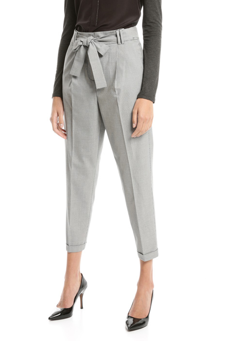 High waist trousers with belt Diffusione Tessile