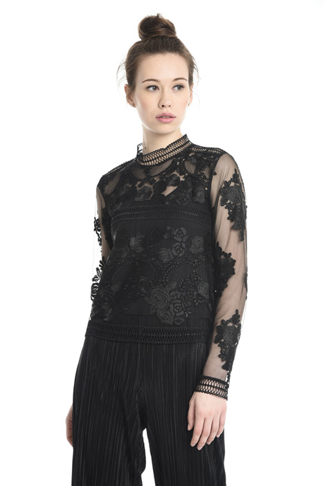 Embroidered tulle top Diffusione Tessile
