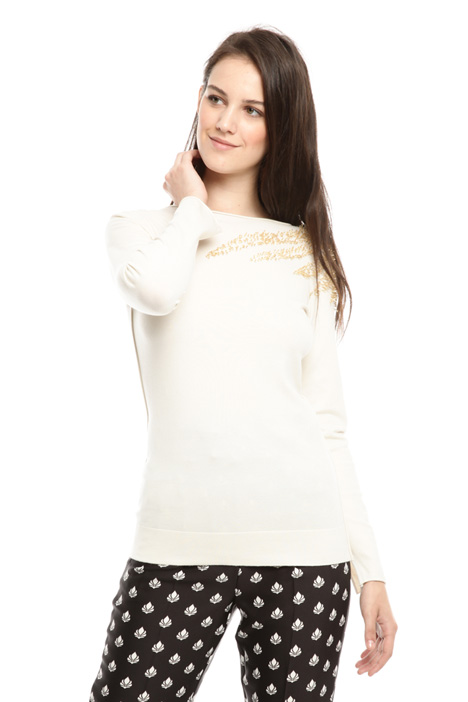 Sweater with golden embroidery Diffusione Tessile