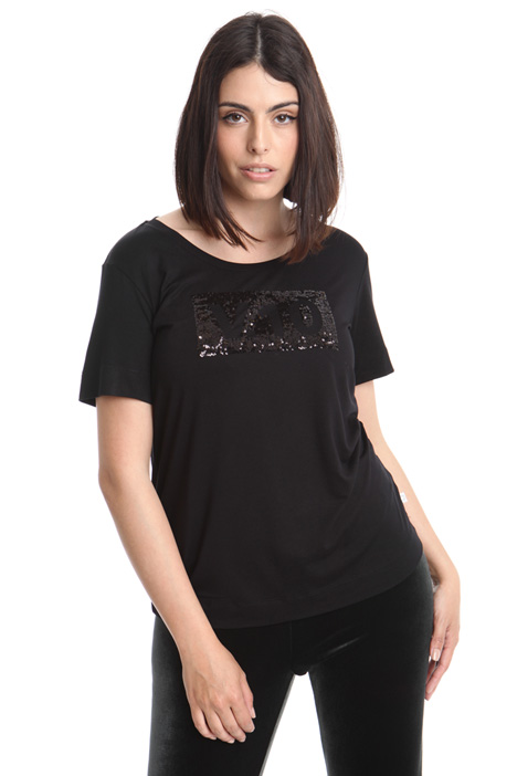 T-shirt in jersey con ricamo Diffusione Tessile