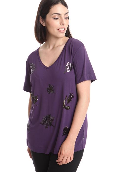 T-shirt in jersey con ricami Diffusione Tessile