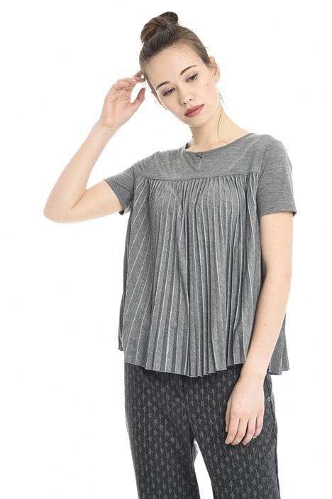 T-shirt svasata con plissé Diffusione Tessile