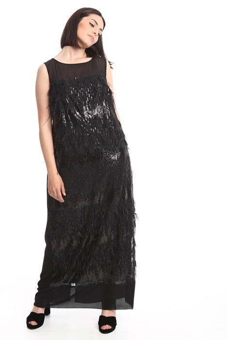 Long dress with feathers Diffusione Tessile