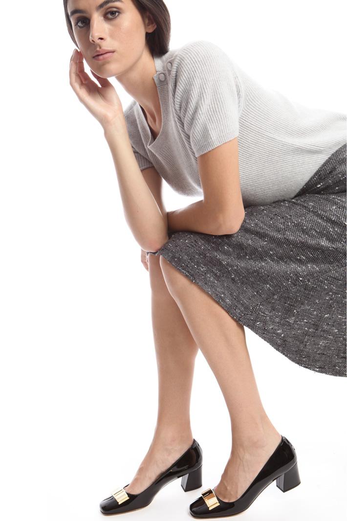 Ballerina verniciata con tacco Diffusione Tessile