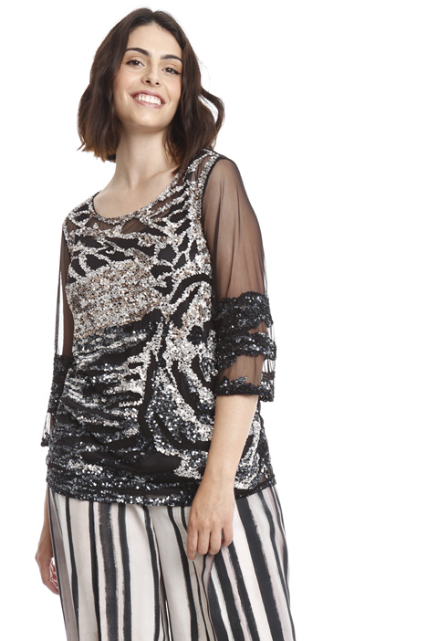 T-shirt in tulle e paillettes Diffusione Tessile