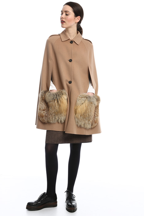 Cape with fur pockets Diffusione Tessile
